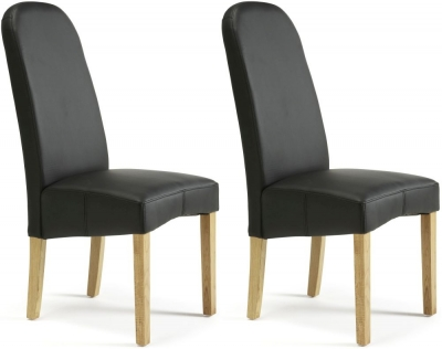 Serene Marlow Black Faux Leather Dining Chair (Pair)