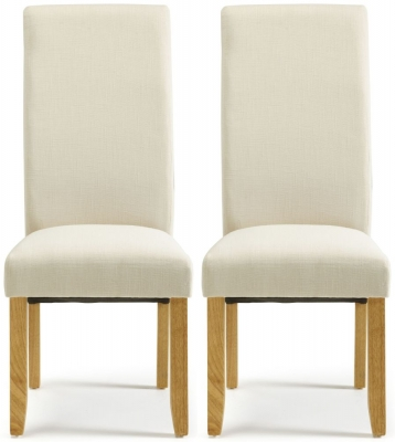 Serene Merton Putty Fabric Dining Chair with Oak Legs (Pair)