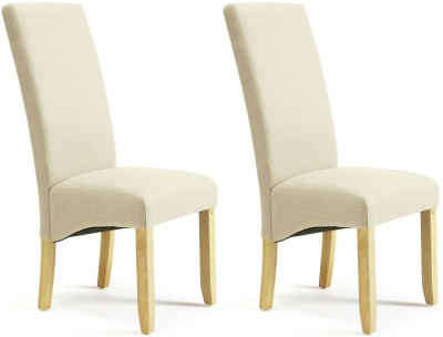 Serene Merton Stone Fabric Dining Chair with Oak Legs (Pair)