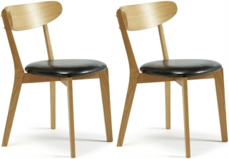 Serene Newham Oak Dining Chair with Faux Leather Seat (Pair)