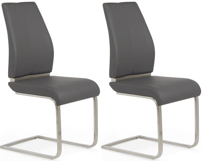 Serene Alicante Grey Faux Leather Dining Chair (Pair)
