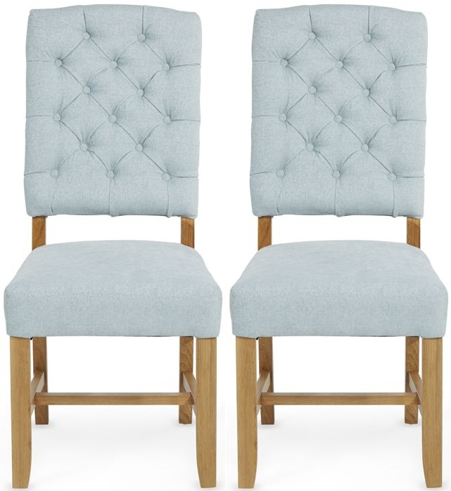 Serene Belmont Duckegg Fabric Dining Chair with Oak Legs (Pair)