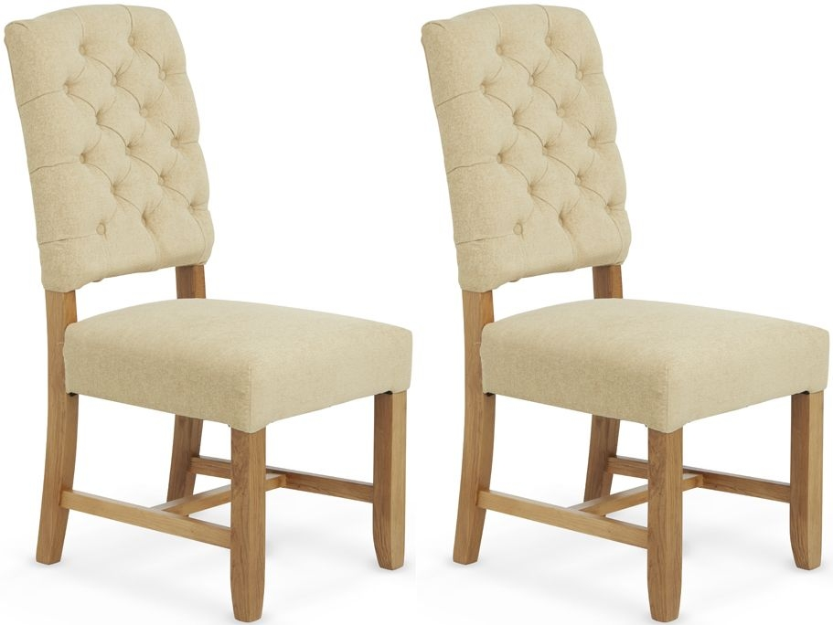 Serene Belmont Oatmeal Fabric Dining Chair (Pair)