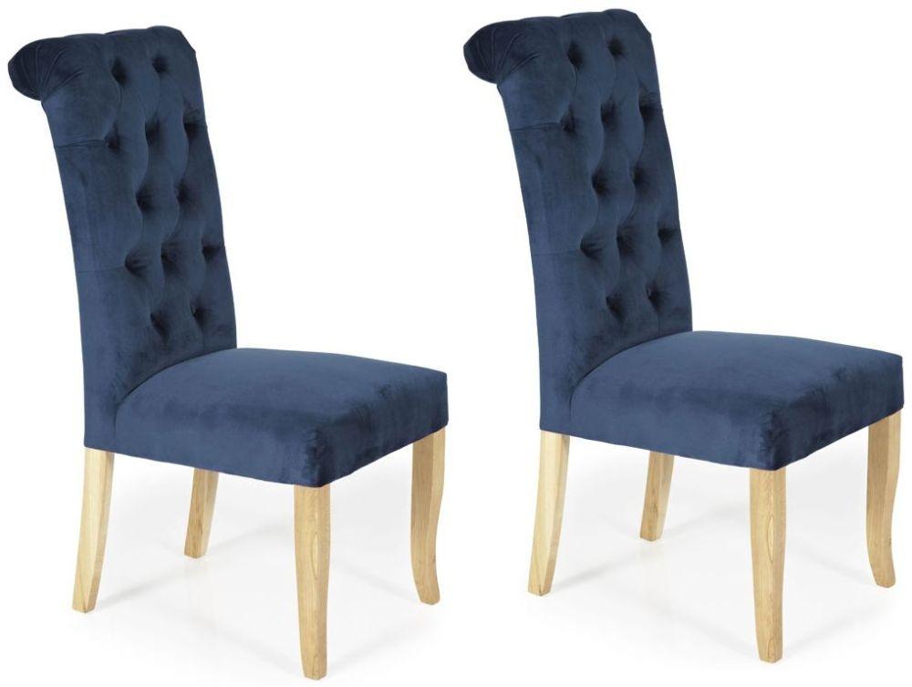 Serene Chiswick Indigo Blue Fabric Dining Chair (Pair)