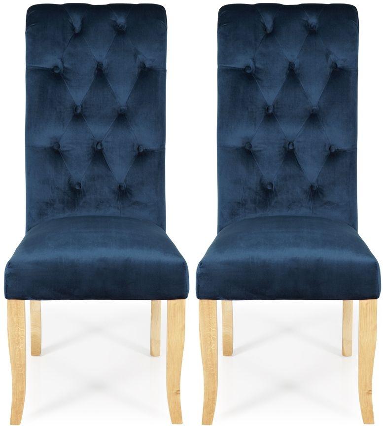 Serene Chiswick Indigo Blue Velvet Dining Chair with Oak Legs (Pair)