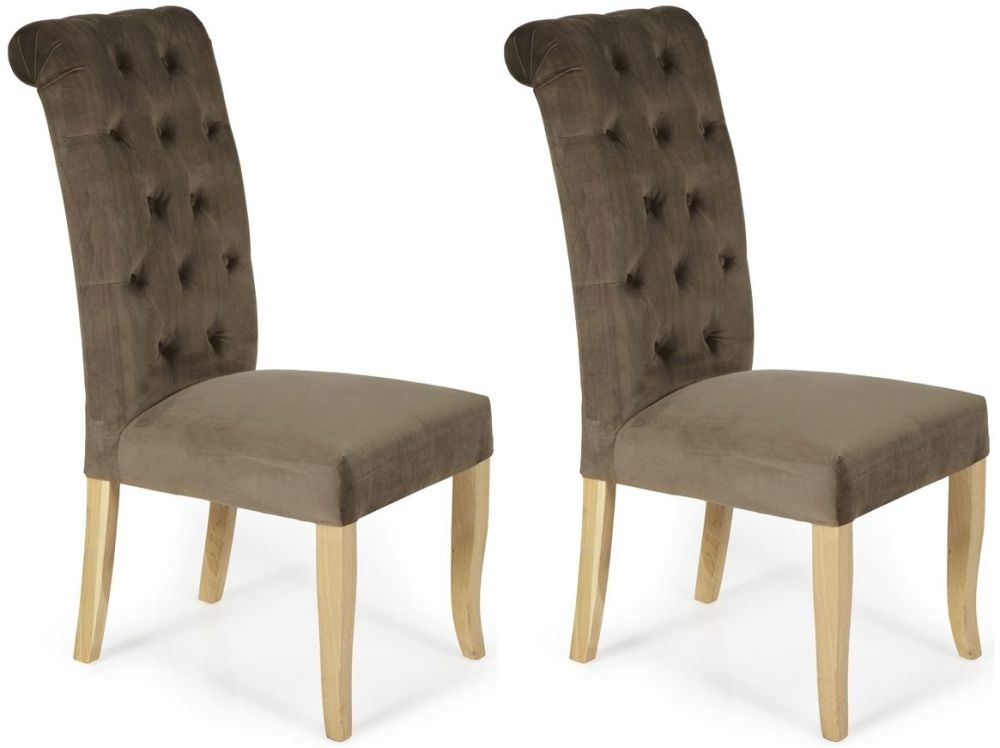 Serene Chiswick Mushroom Fabric Dining Chair (Pair)