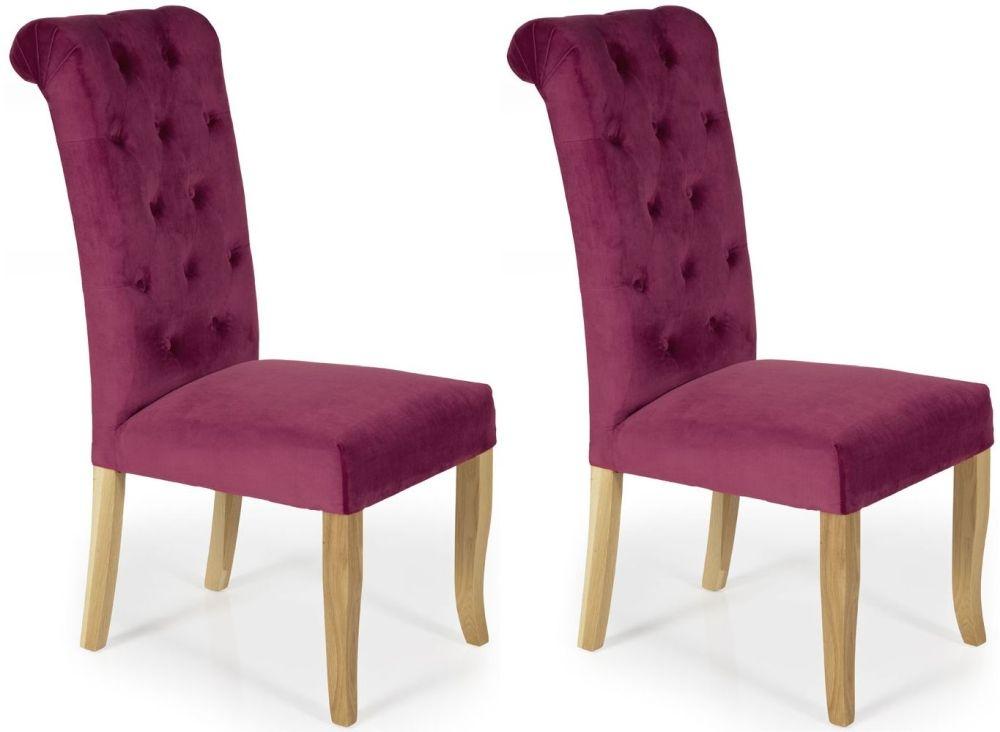 Serene Chiswick Raspberry Fabric Dining Chair (Pair)