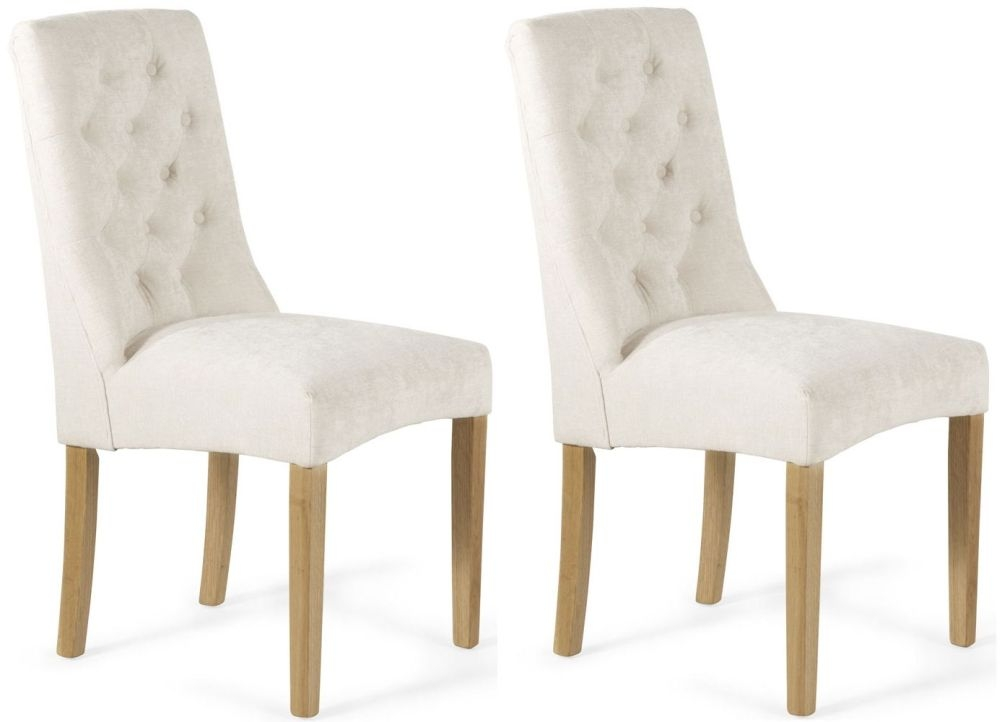 Serene Fulham Pearl Fabric Dining Chair (Pair)