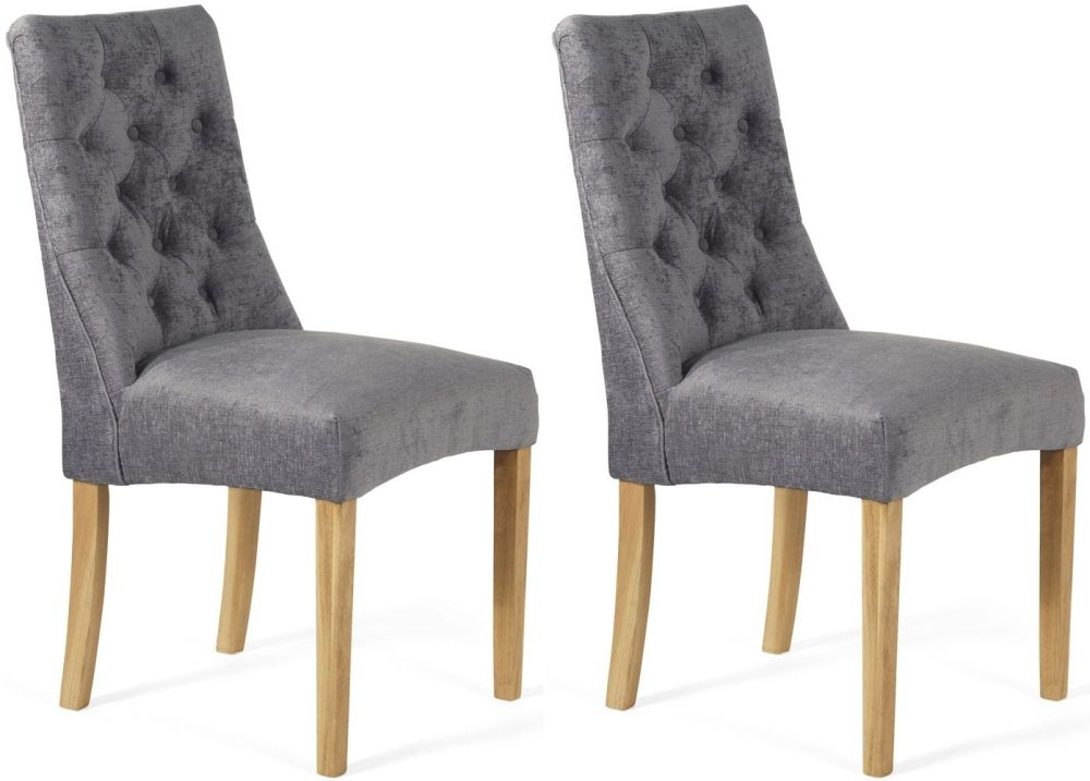 Serene Fulham Steel Fabric Dining Chair (Pair)