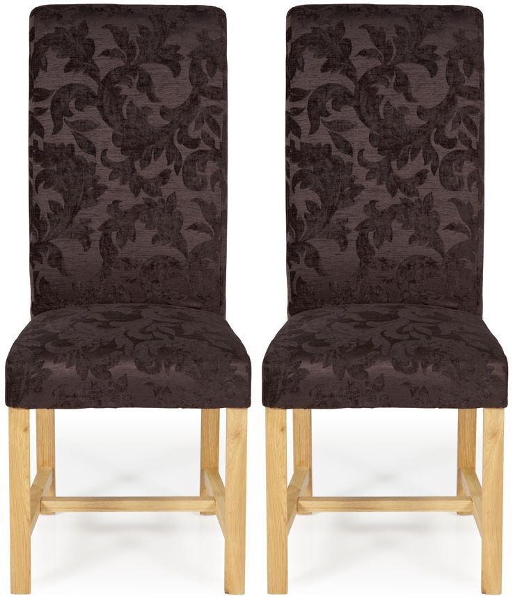 Serene Greenwich Aubergine Floral Fabric Dining Chair with Oak Legs (Pair)