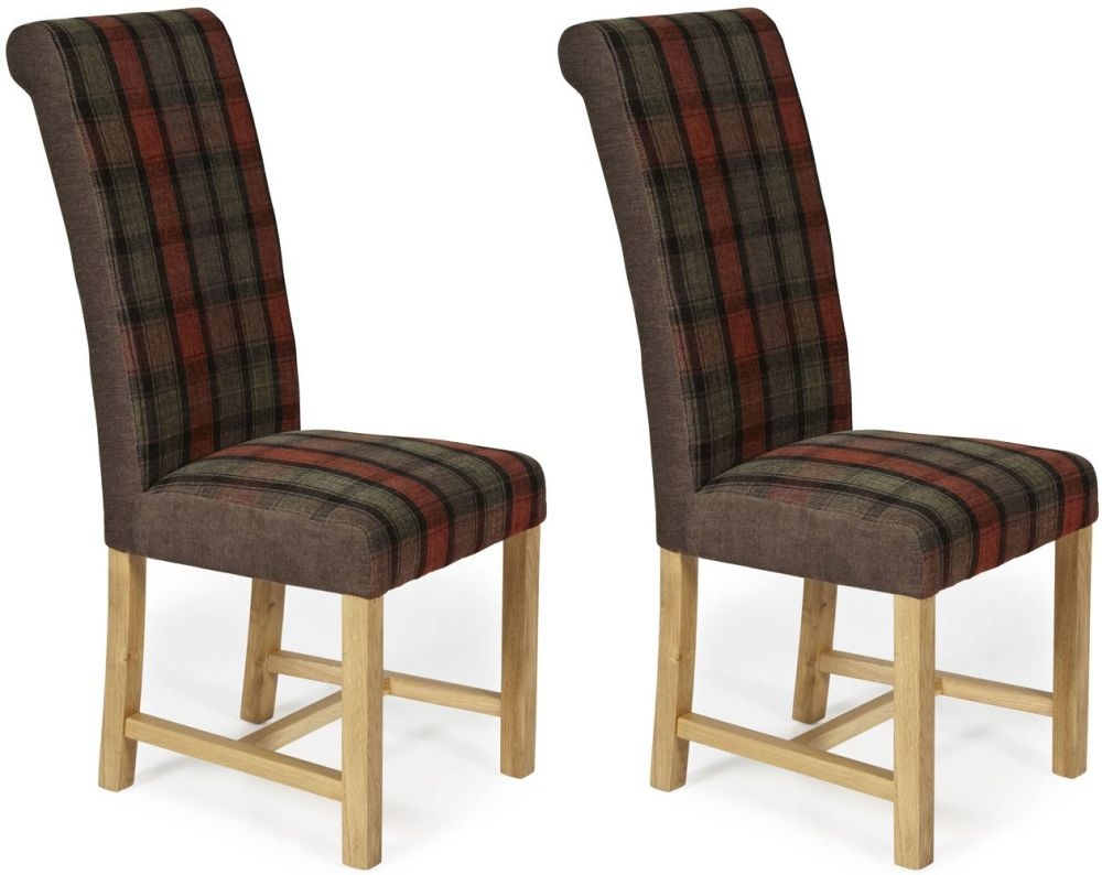 Serene Greenwich Brown Tartan Fabric Dining Chair with Oak Legs (Pair)