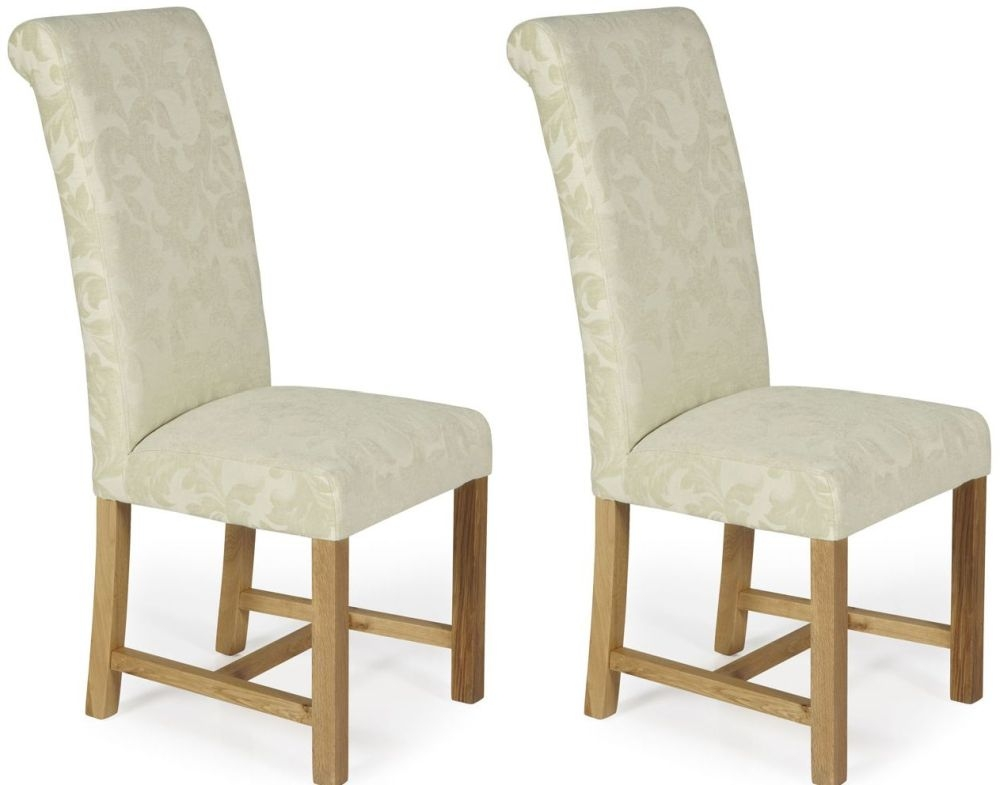 Serene Greenwich Cream Floral Fabric Dining Chair with Oak Legs (Pair)