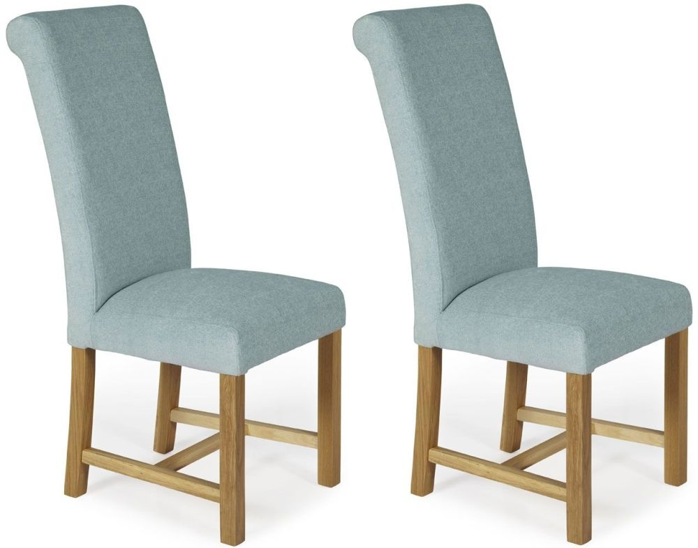 Serene Greenwich Duck Egg Plain Fabric Dining Chair with Oak Legs (Pair)
