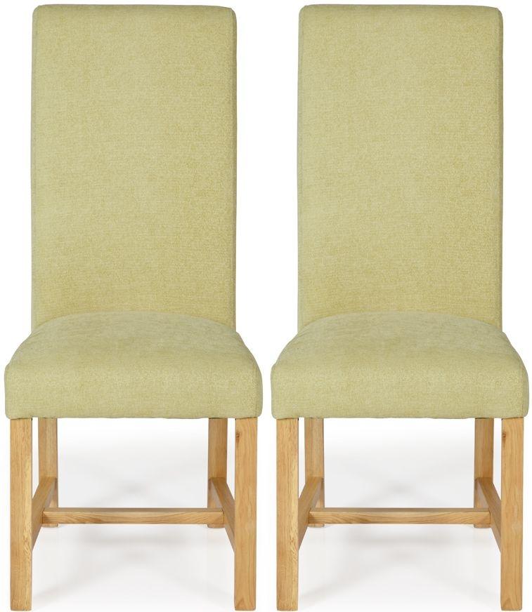Serene Greenwich Oatmeal Plain Fabric Dining Chair with Oak Legs (Pair)