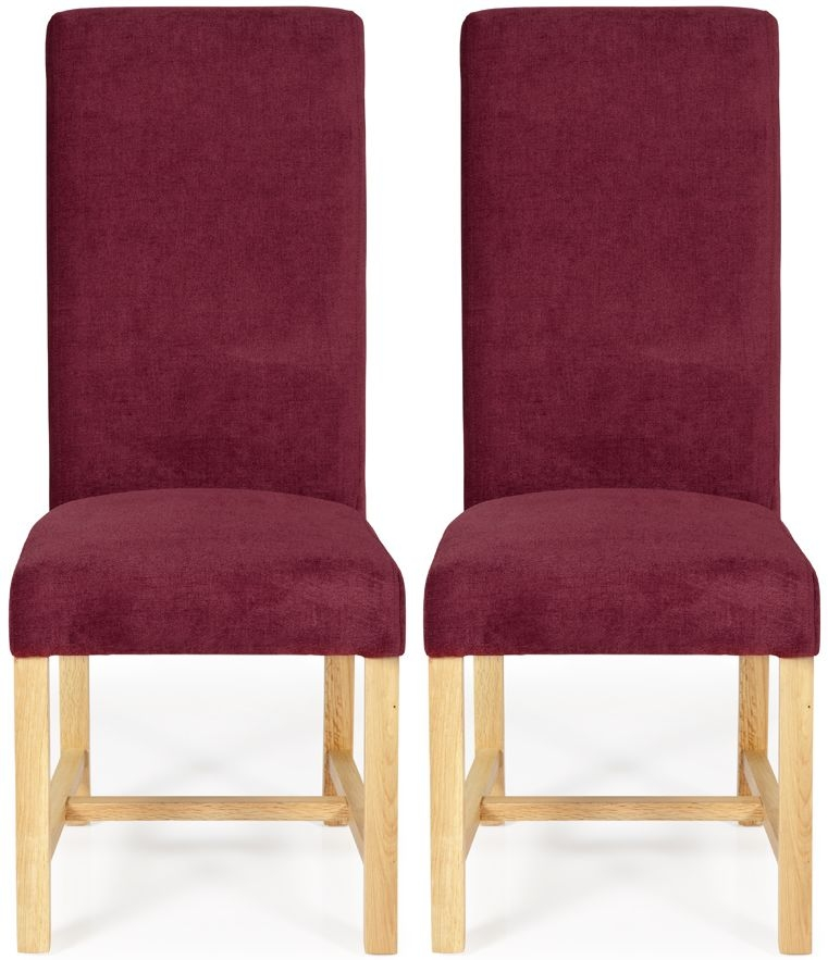 Serene Greenwich Red Plain Fabric Dining Chair with Oak Legs (Pair)