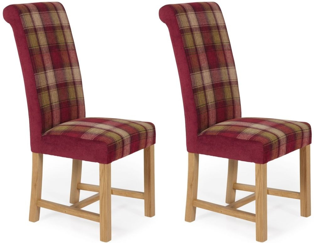 Serene Greenwich Red Tartan Fabric Dining Chair with Oak Legs (Pair)