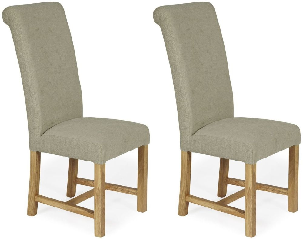 Serene Greenwich Sage Plain Fabric Dining Chair with Oak Legs (Pair)