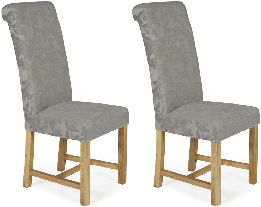 Serene Greenwich Silver Floral Fabric Dining Chair with Oak Legs (Pair)