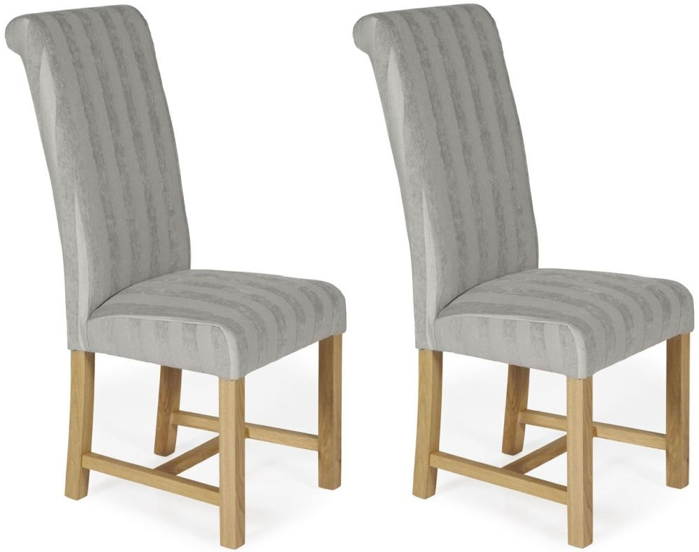 Serene Greenwich Silver Stripe Fabric Dining Chair with Oak Legs (Pair)