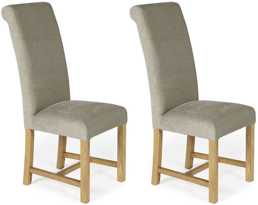 Serene Greenwich Stone Plain Fabric Dining Chair with Oak Legs (Pair)