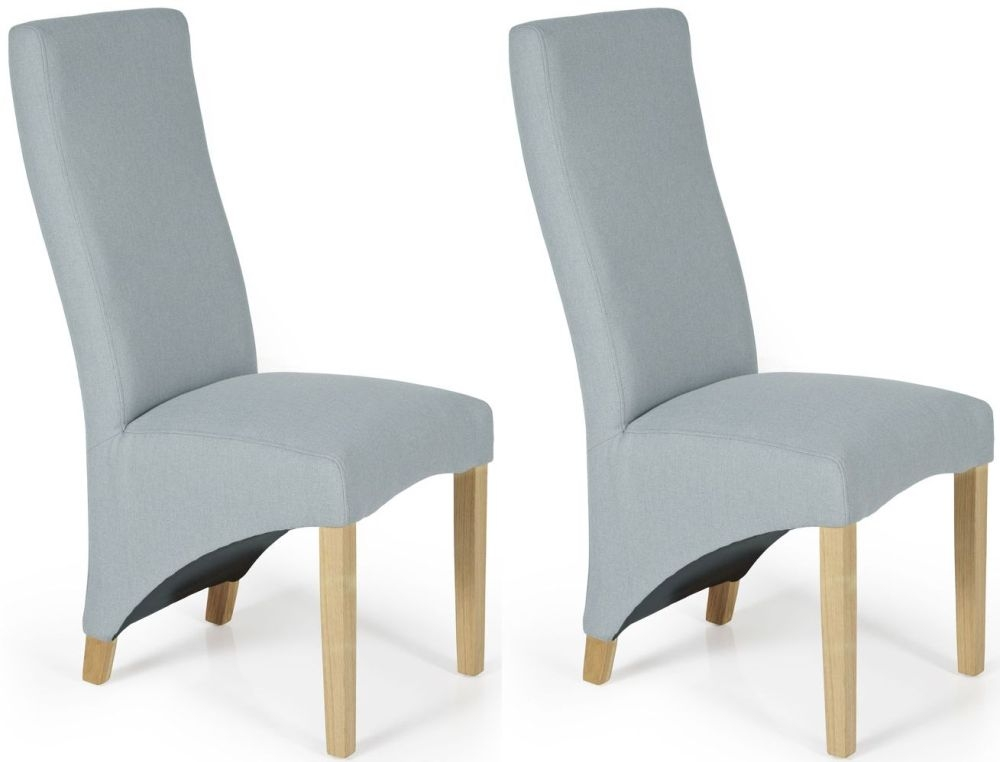 Serene Hammersmith Archer Plain Fabric Dining Chair with Oak Legs (Pair)