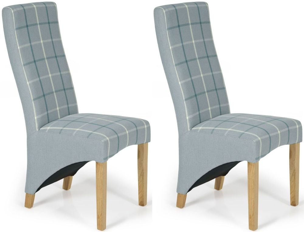 Serene hammersmith archer tartan fabric dining chair with for Fabric dining room chair