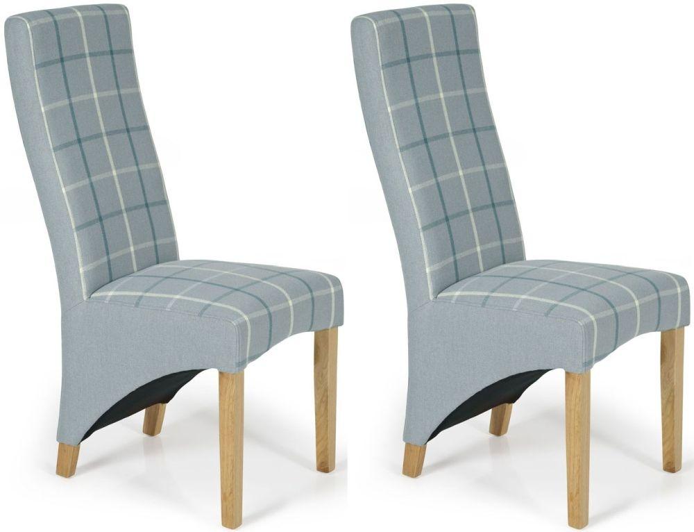 Serene Hammersmith Archer Tartan Fabric Dining Chair with Oak Legs (Pair)