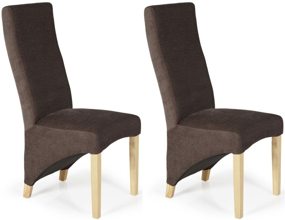 Serene Hammersmith Brown Plain Fabric Dining Chair with Oak Legs (Pair)
