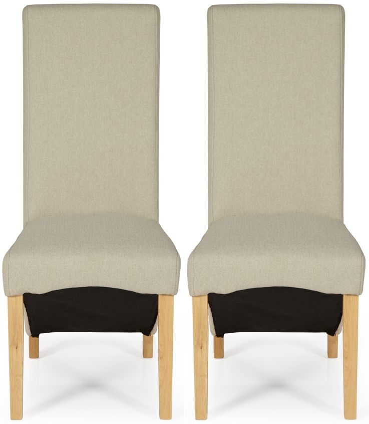 Serene Hammersmith Latte Plain Fabric Dining Chair with Oak Legs (Pair)
