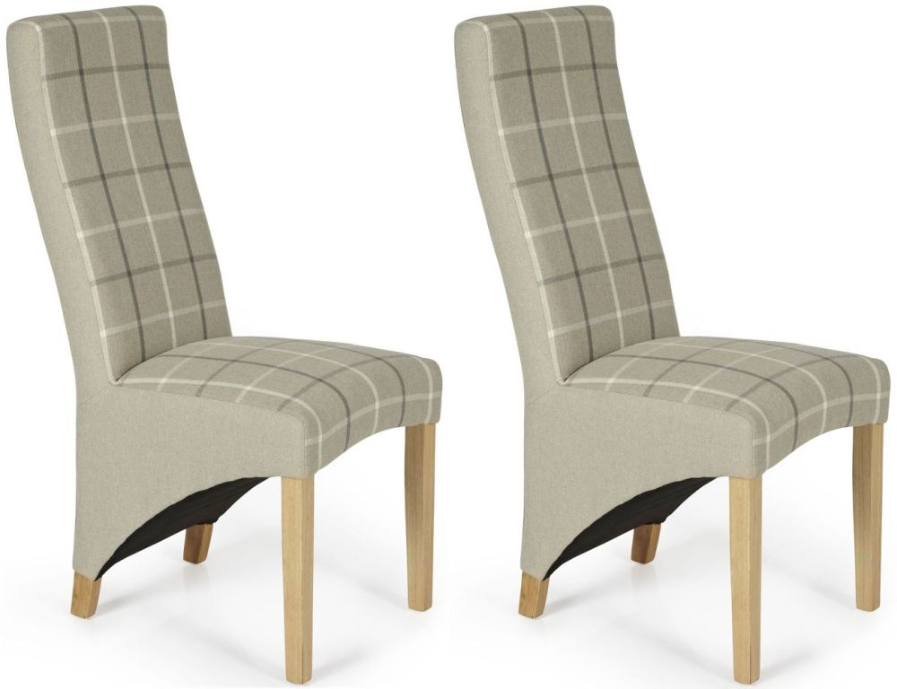 Serene Hammersmith Latte Tartan Fabric Dining Chair with Oak Legs (Pair)