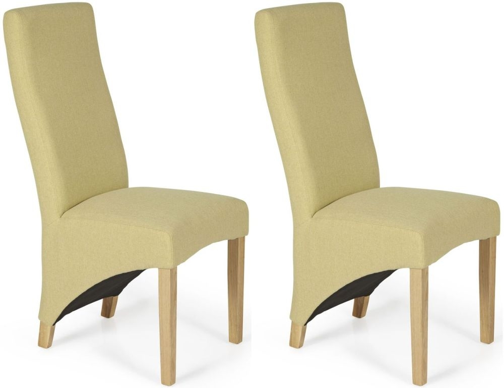 Serene Hammersmith Mustard Plain Fabric Dining Chair with Oak Legs (Pair)