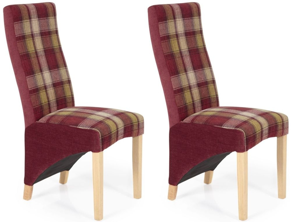 Serene Hammersmith Red Tartan Fabric Dining Chair with Oak Legs (Pair)