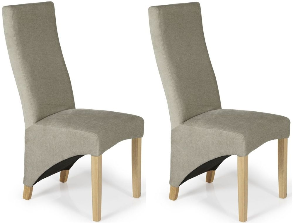 Serene Hammersmith Stone Plain Fabric Dining Chair with Oak Legs (Pair)
