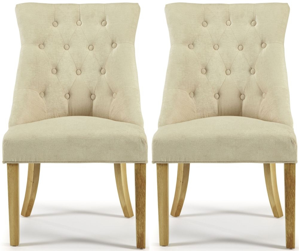 Serene Hampton Pearl Fabric Dining Chair with Oak Legs (Pair)