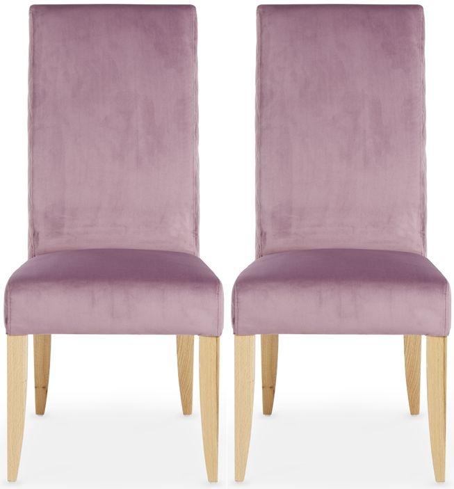 Serene Hendon Lavender Velvet Dining Chair with Oak Legs (Pair)