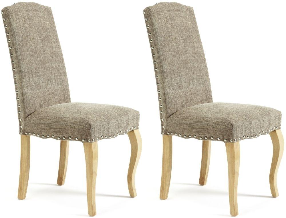 Serene Kensington Bark Fabric Dining Chair with Oak Legs (Pair)