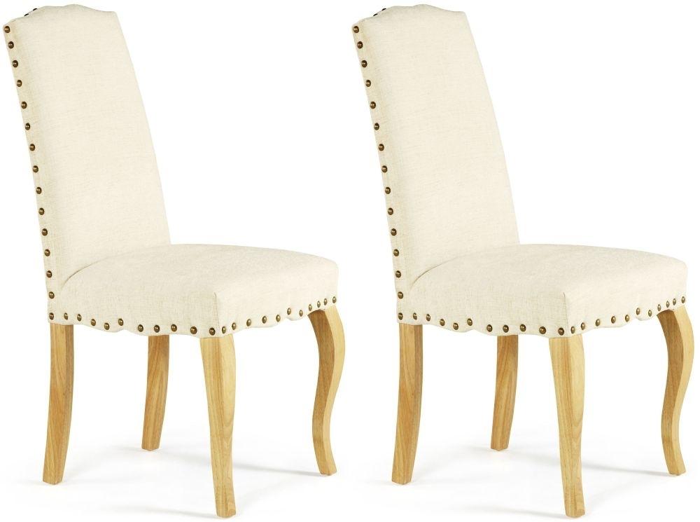 Serene Kensington Pearl Fabric Dining Chair with Oak Legs (Pair)