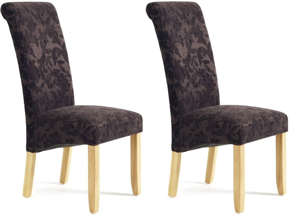 Serene Kingston Aubergine Floral Fabric Dining Chair with Oak Legs (Pair)