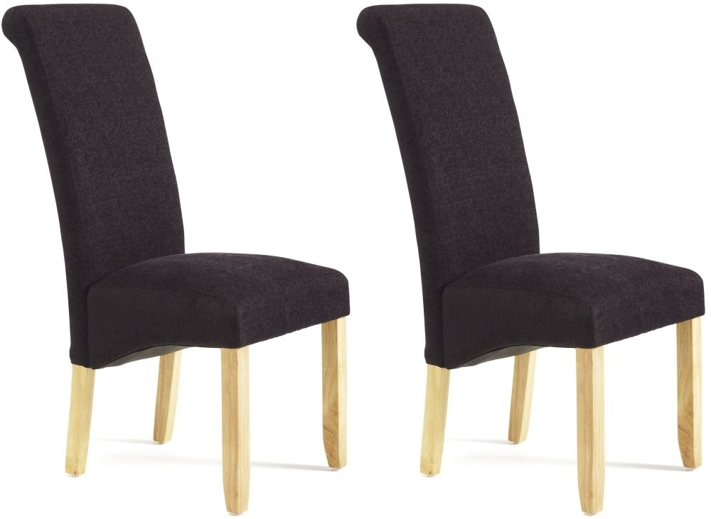 Serene Kingston Aubergine Plain Fabric Dining Chair With Oak Legs (Pair)