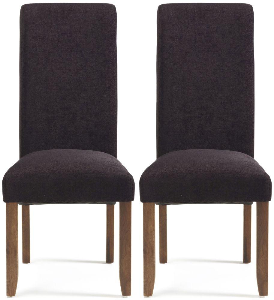 Serene Kingston Aubergine Plain Fabric Dining Chair with Walnut Legs (Pair)