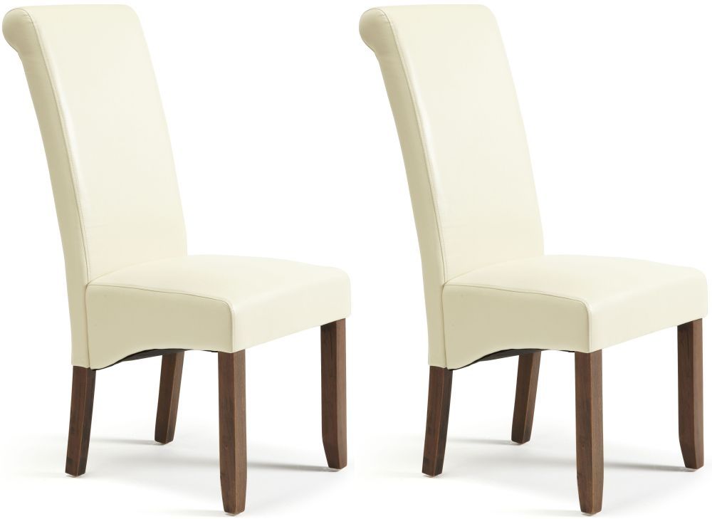 Serene Kingston Cream Faux Leather Dining Chair with  : 3 Serene Kingston Cream Faux Leather Dining Chair with Walnut Legs Pair from choicefurnituresuperstore.co.uk size 1000 x 729 jpeg 93kB