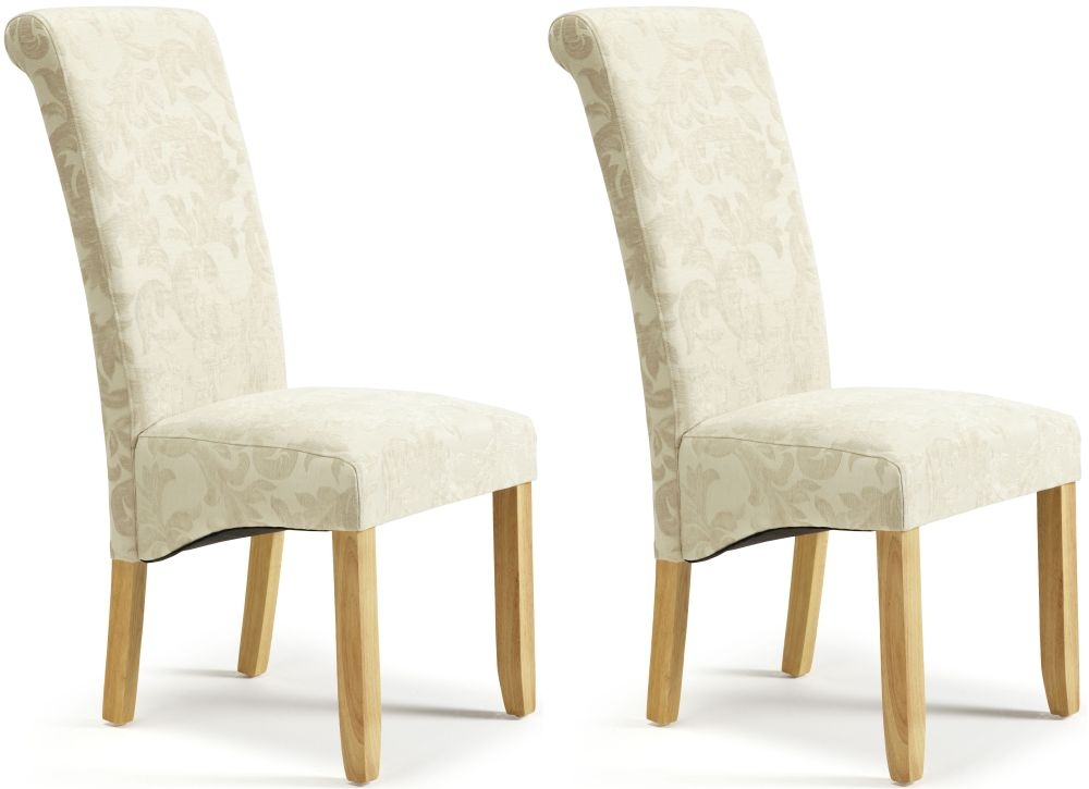 Buy Serene Kingston Cream Floral Fabric Dining Chair with  : 3 Serene Kingston Cream Floral Fabric Dining Chair with Oak Legs Pair from www.choicefurnituresuperstore.co.uk size 1000 x 725 jpeg 141kB