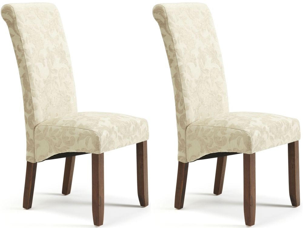 Serene Kingston Cream Floral Fabric Dining Chair with Walnut Legs (Pair)