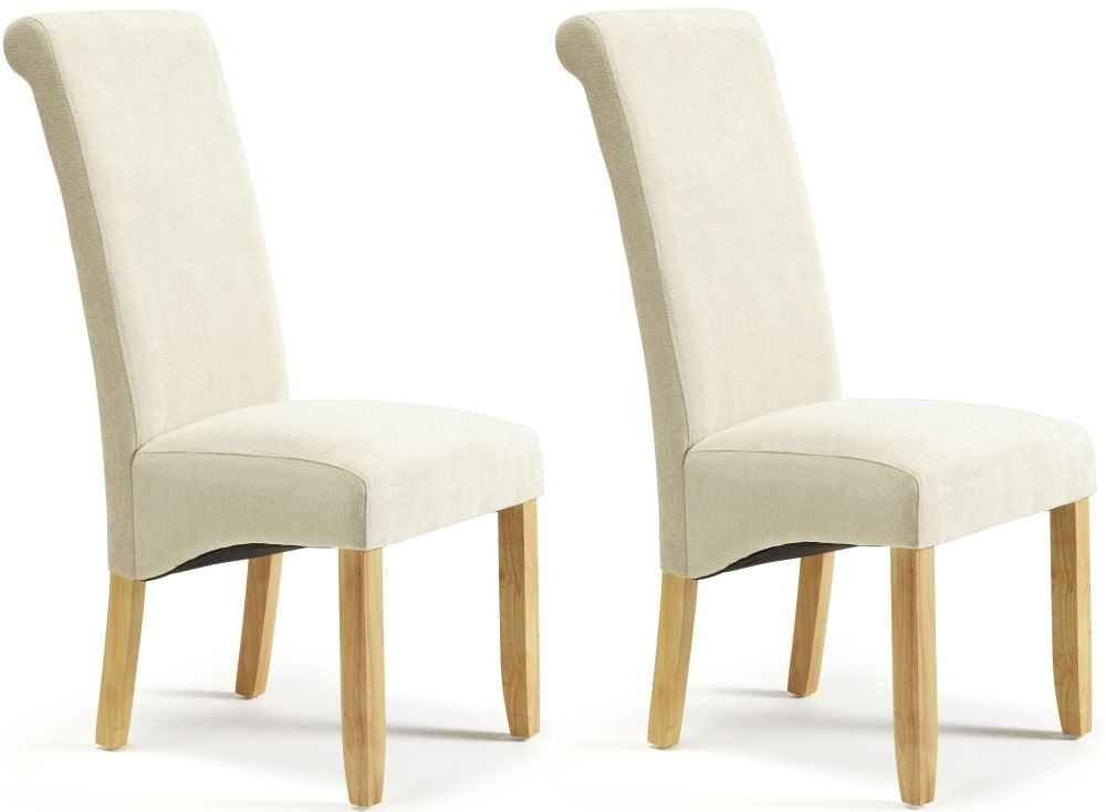 Serene Kingston Cream Plain Fabric Dining Chair with Oak Legs (Pair)