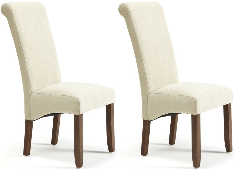 Serene Kingston Cream Plain Fabric Dining Chair with Walnut Legs (Pair)