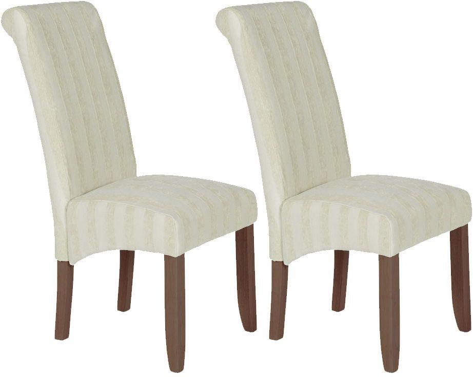 Serene Kingston Cream Fabric Dining Chair with Walnut Legs (Pair)