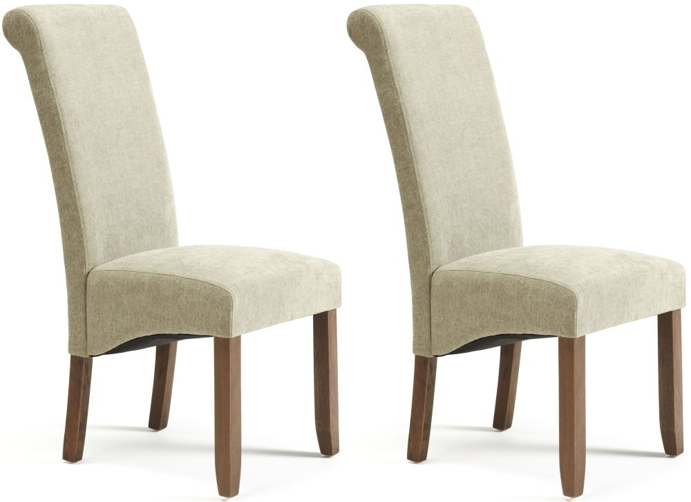 Serene Kingston Sage Plain Fabric Dining Chair with Walnut Legs (Pair)