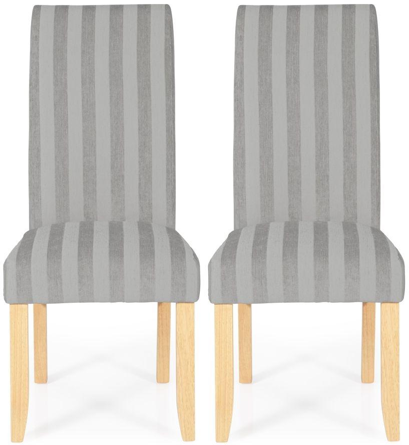 Serene Kingston Silver Stripe Fabric Dining Chair with Oak Legs (Pair)