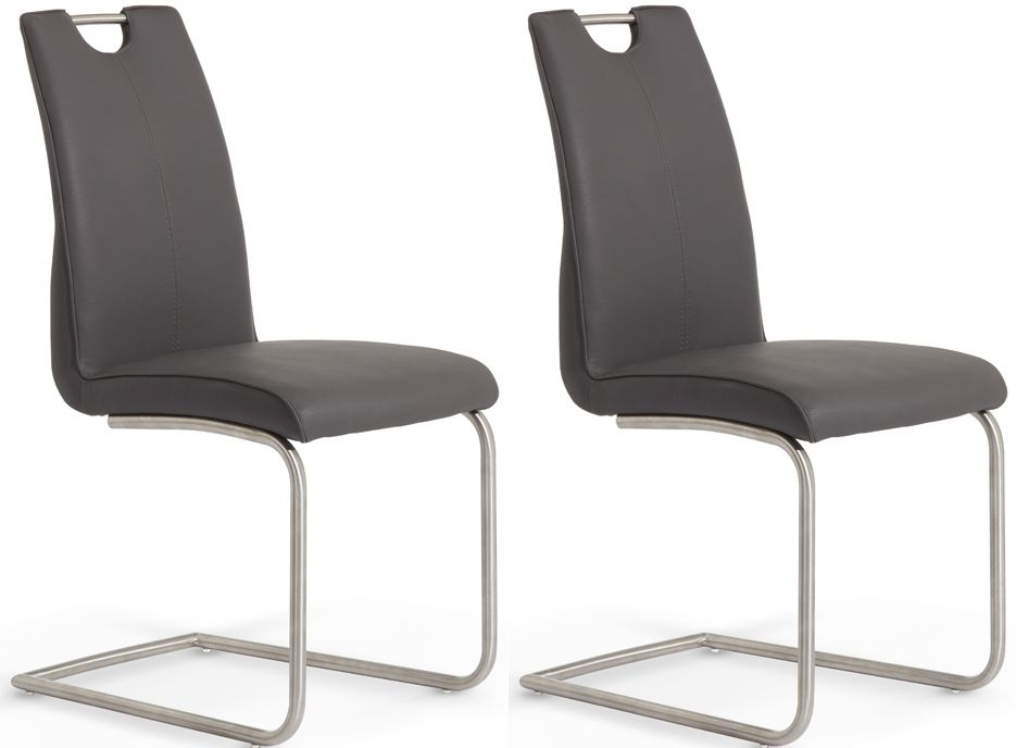 Serene Malaga Grey Faux Leather Dining Chair (Pair)