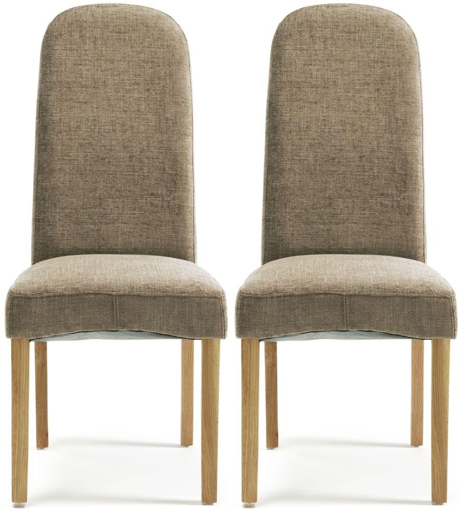 Serene Marlow Bark Fabric Dining Chair with Oak Legs (Pair)